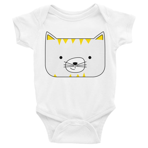 Infant Bodysuit_Scribbles Cool Cat White