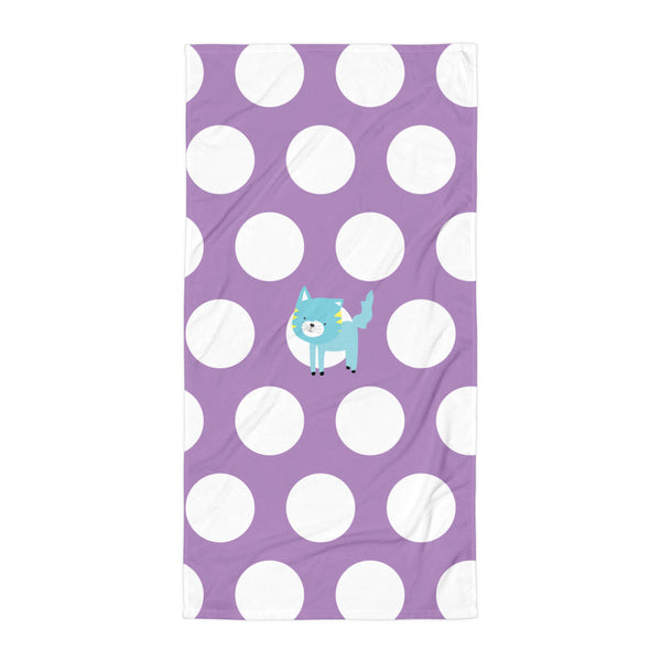 Towel_Polka Dottie Silly Kitty Purple