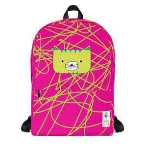 Backpack_Scribbles Cool Cat Pink