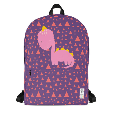Backpack_Triangles & Dinos Purple Pink
