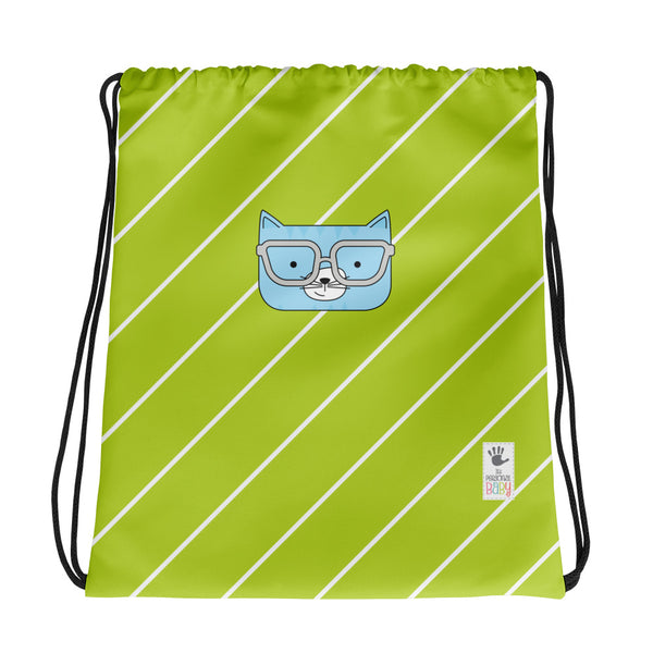 Drawstring Bag_Diagonal Stripes Cool Cat Green