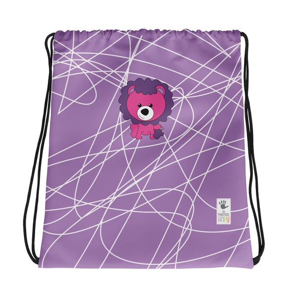 Drawstring Bag_Scribbles Lion Lion Purple