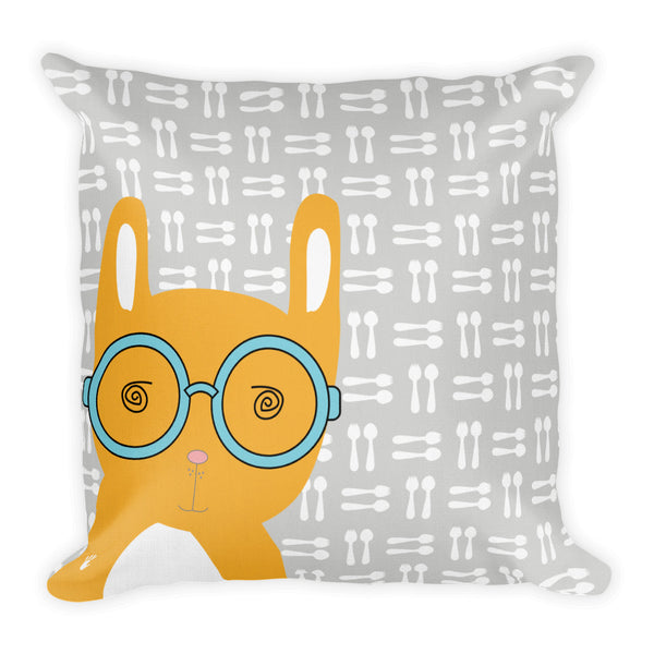Premium Pillow_Hungry Funny Bunny Grey
