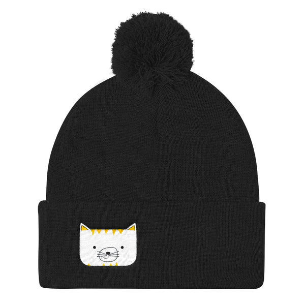 Pom Pom Knit Cap_Scribbles Cool Cat White