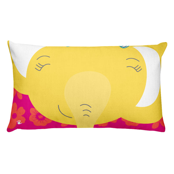 Premium Pillow_Flower Power Elephant Pink