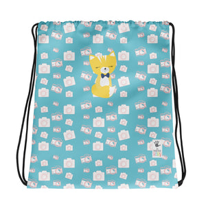 Drawstring Bag_Say Cheese Smarty Pants Blue