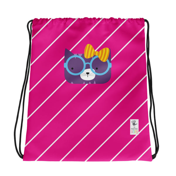 Drawstring Bag_Diagonal Stripes Cool Cat Pink