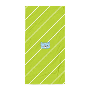 Towel_Diagonal Stripes Cool Cat Green