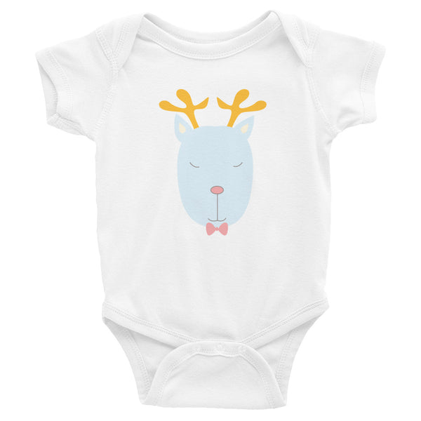 Infant Bodysuit_Music Notes Deer Blue