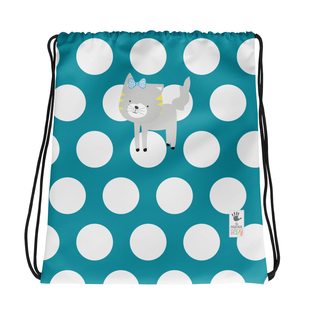 Drawstring Bag_Polka Dottie Silly Kitty Teal