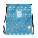 Drawstring Bag_Music Notes Deer Blue