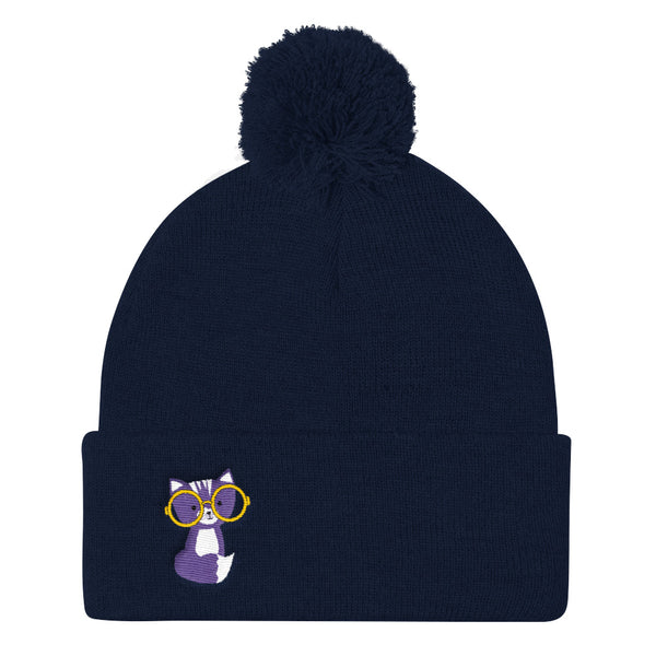Pom Pom Knit Cap_Polka Dottie Smarty Pants Purple