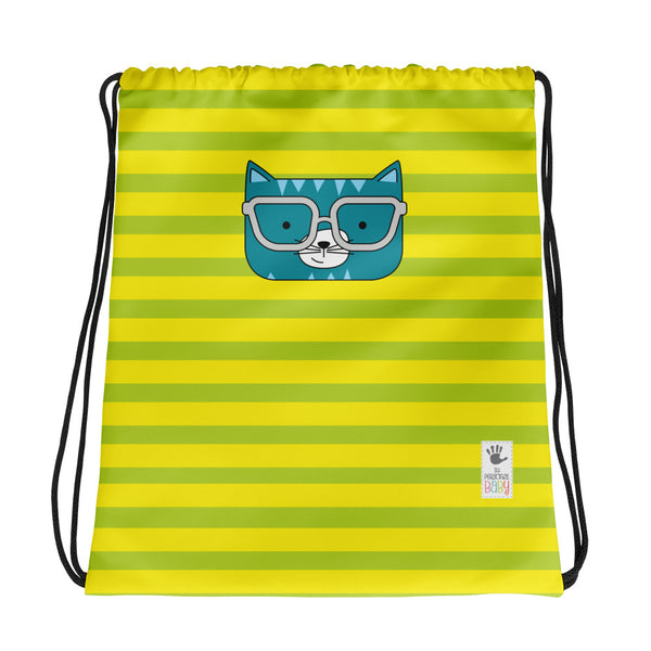 Drawstring Bag_Stripes Cool Cat Green