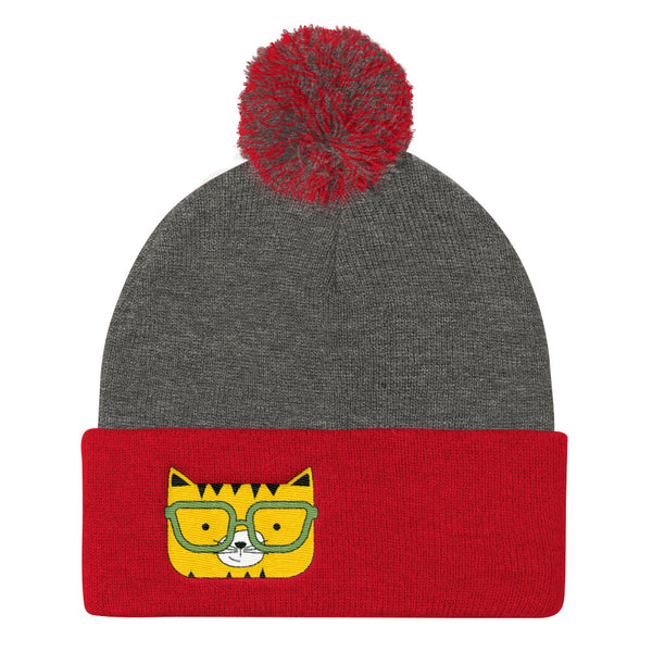 Pom Pom Knit Cap_Solid Pink Cool Cat