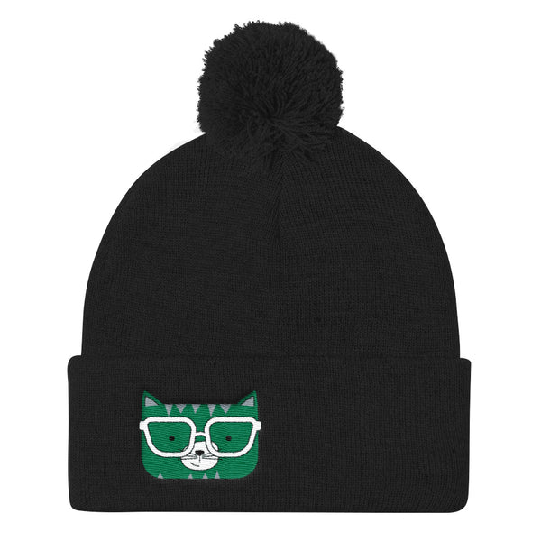 Pom Pom Knit Cap_Horizontal Stripes Cool Cat Green