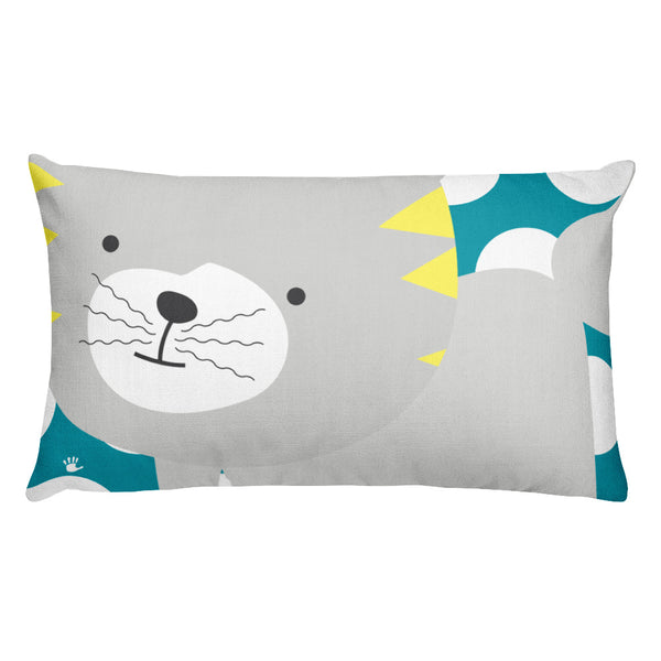 Premium Pillow_Polka Dottie Silly Kitty Teal