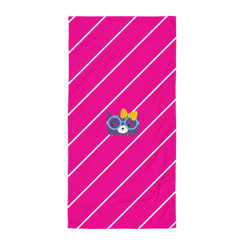 Towel_Diagonal Stripes Cool Cat Pink
