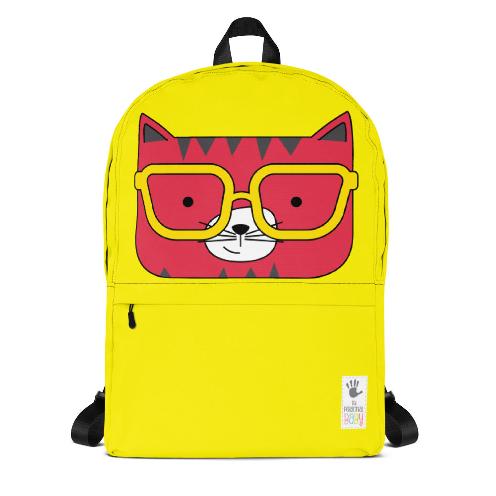 Backpack_Solid Yellow Cool Cat Red