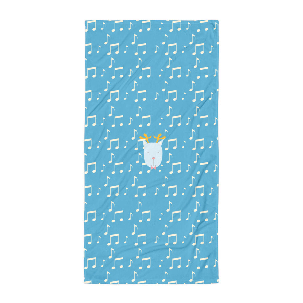 Towel_Music Notes Deer Blue
