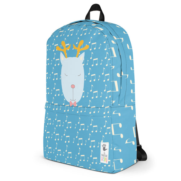 Backpack_Music Notes Deer Blue