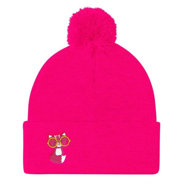 Pom Pom Knit Cap_Sweetie Smarty Pants Blue Pink