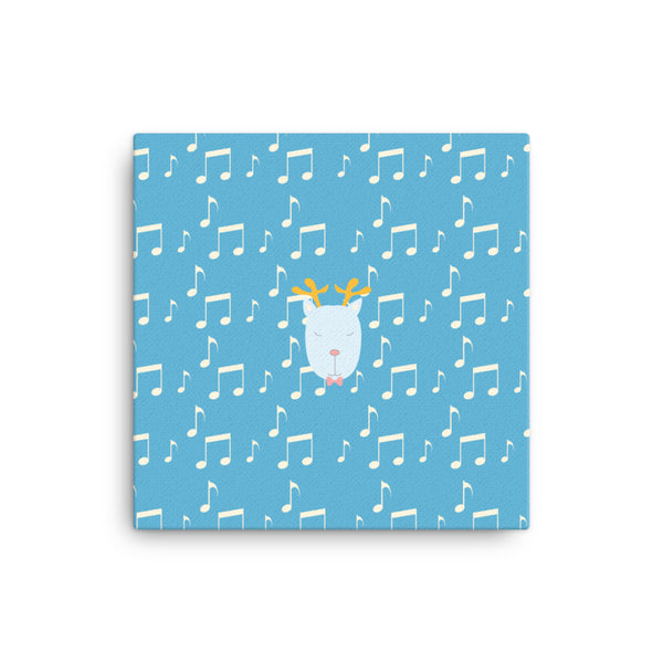 Canvas_Music Notes Deer Blue