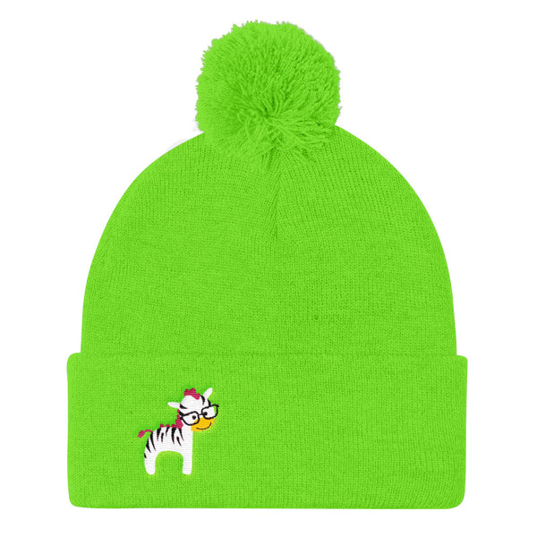 Pom Pom Knit Cap_I Love You Zebra Green