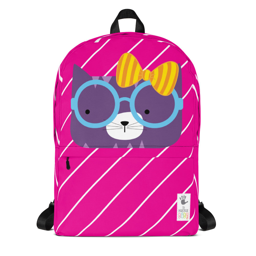 Backpack_Diagonal Stripes Cool Cat Pink
