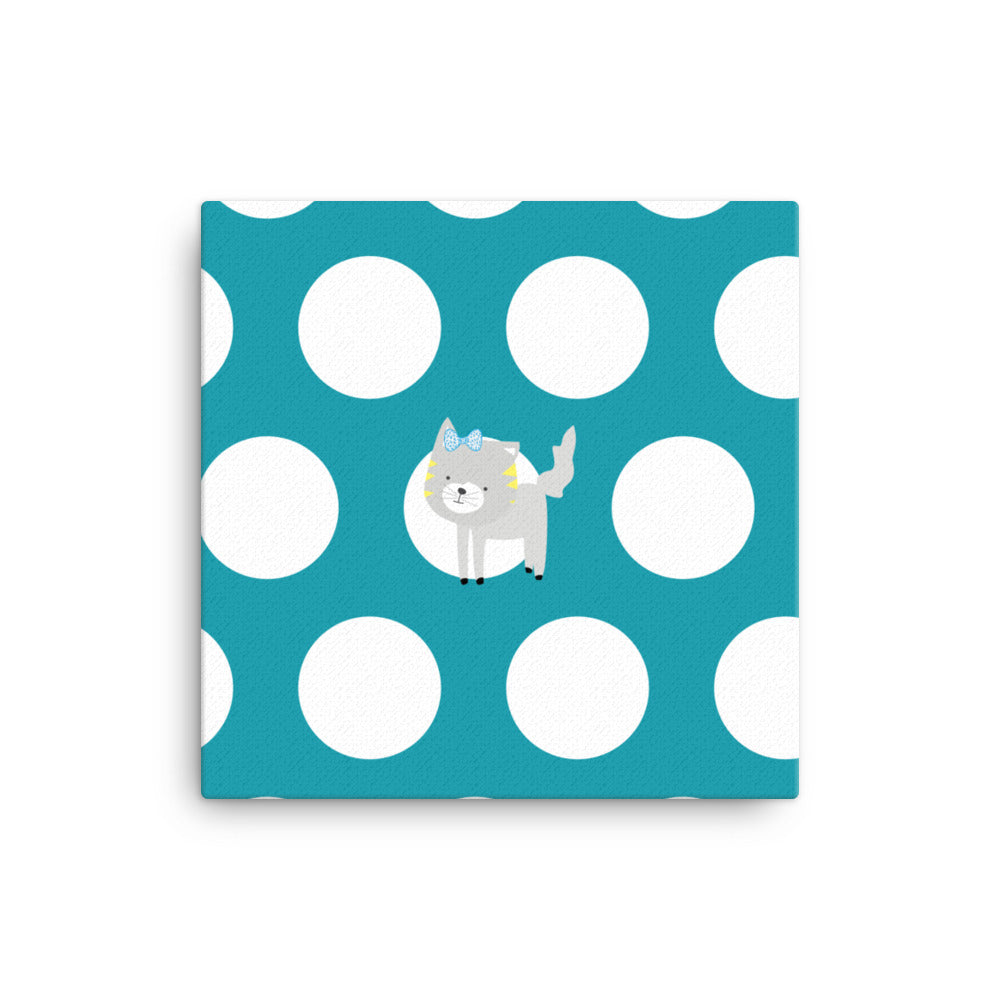Canvas_Polka Dottie Silly Kitty Teal