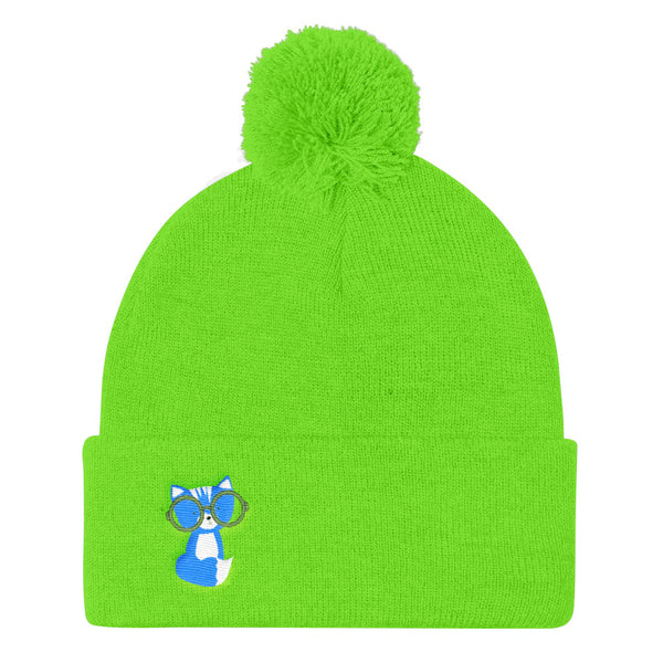 Pom Pom Knit Cap_Polka Dottie Smarty Pants Blue