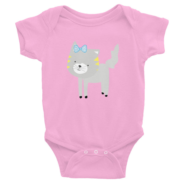 Infant Bodysuit_Polka Dottie Silly Kitty Teal