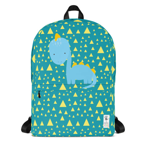 Backpack_Triangles & Dinos Teal Blue