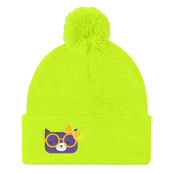 Pom Pom Knit Cap_Diagonal Stripes Cool Cat Pink