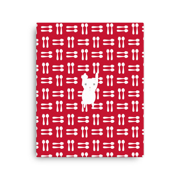 Canvas_Hungry Funny Bunny Red