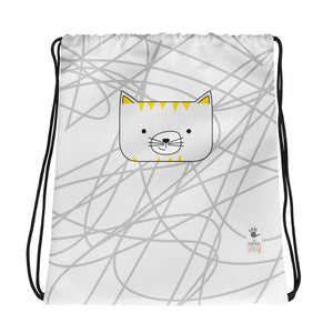 Drawstring Bag_Scribbles Cool Cat White