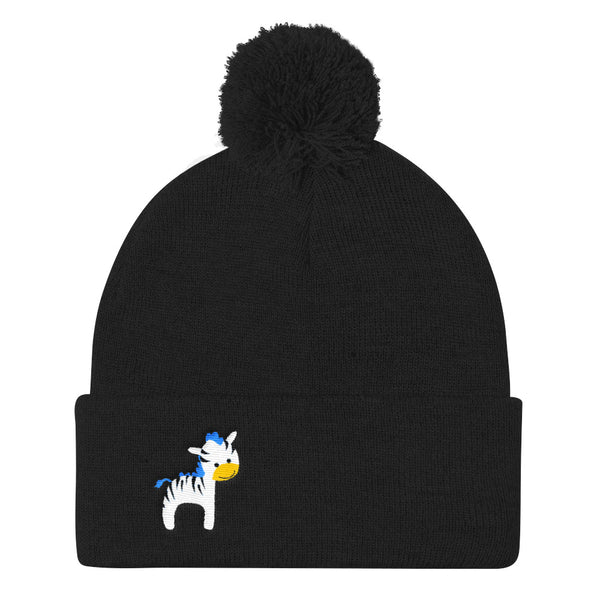 Pom Pom Knit Cap_Cinema Zebra Yellow