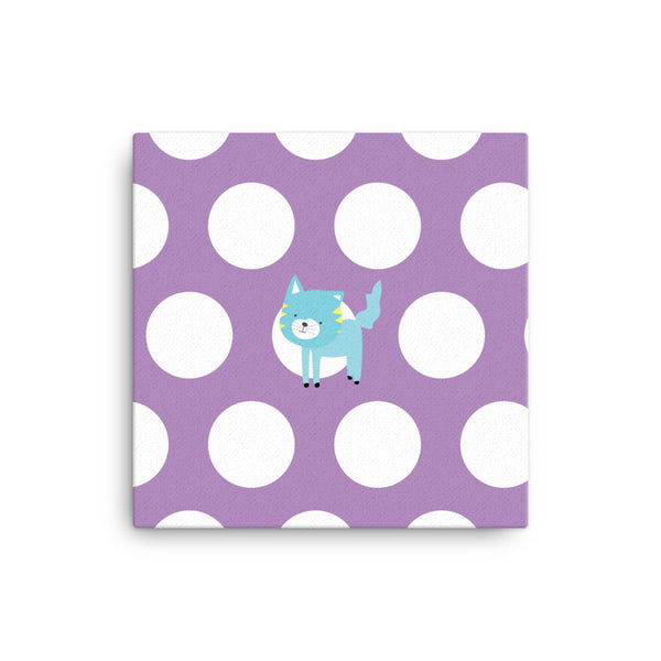 Canvas_Polka Dottie Silly Kitty Purple