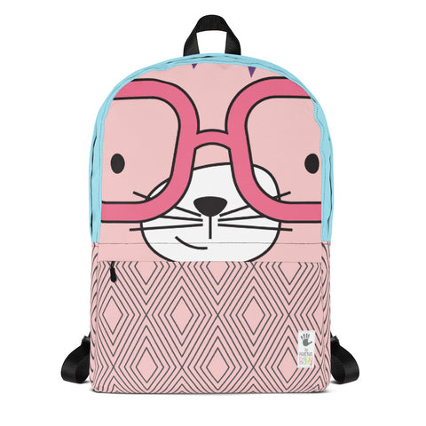 Backpack_Diamonds Cool Cat Pink