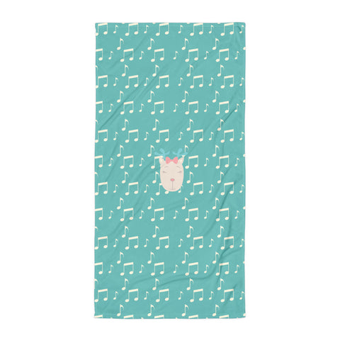 Towel_Music Notes Deer Turquoise