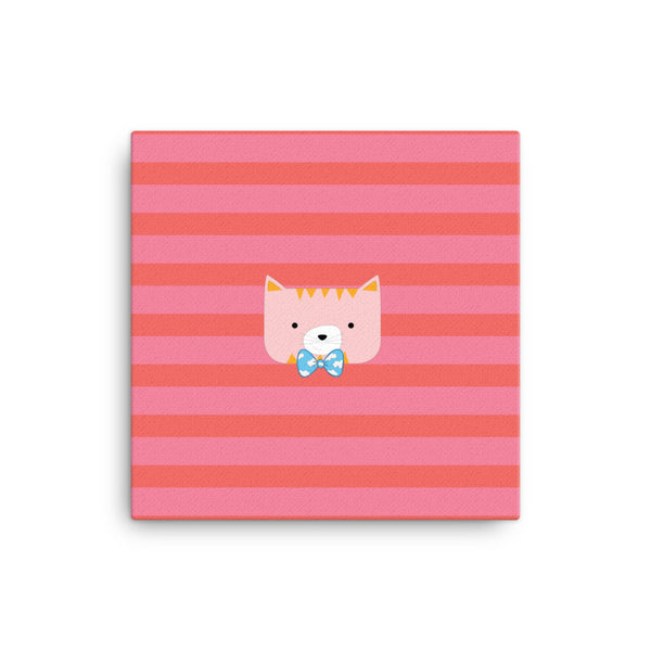 Canvas_Horizontal Stripes Cool Cat Pink
