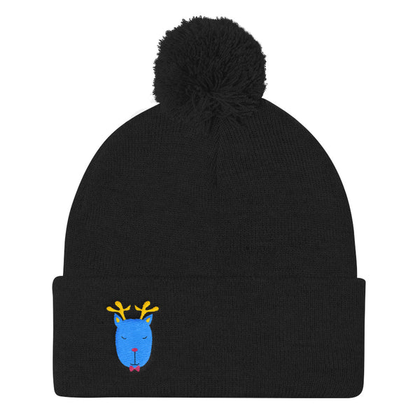 Pom Pom Knit Cap_Music Notes Deer Blue