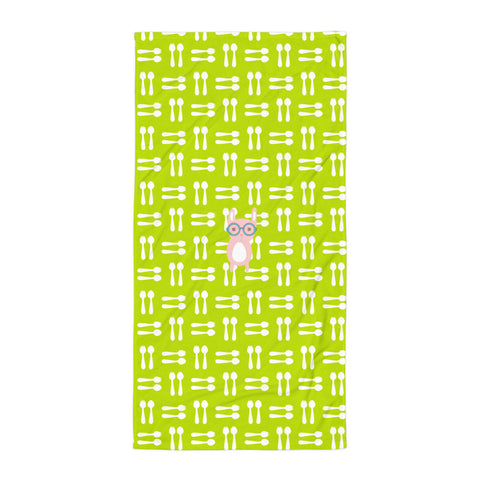 Towel_Hungry Funny Bunny Green