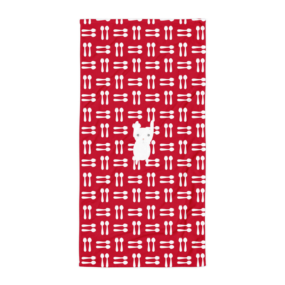 Towel_Hungry Funny Bunny Red