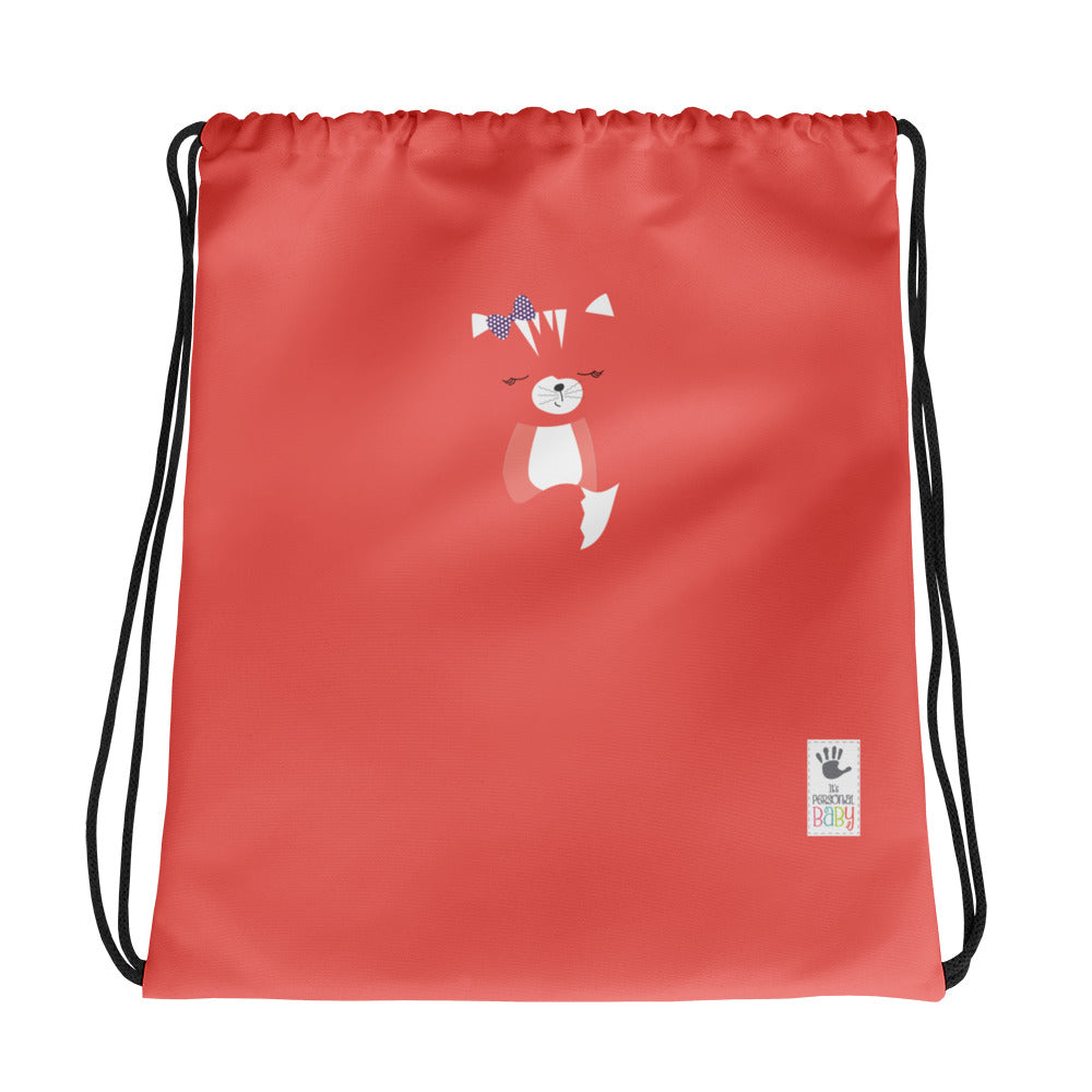 Drawstring Bag_Hidden Kitten Red