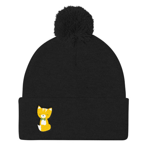 Pom Pom Knit Cap_Say Cheese Smarty Pants Blue Yellow