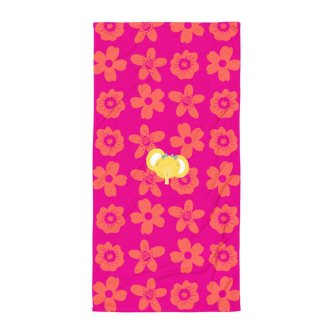Towel_Flower Power Elephant Pink