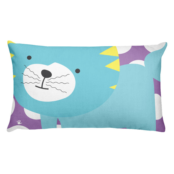 Premium Pillow_Polka Dottie Silly Kitty Purple