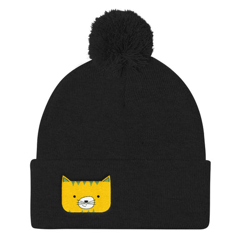 Pom Pom Knit Cap_Scribbles Cool Cat Pink