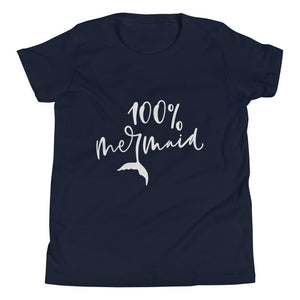 100% Mermaid Youth Short Sleeve (2 Colours) - Mermaid Short Sleeves Youth Shirt - Fashion Accessories