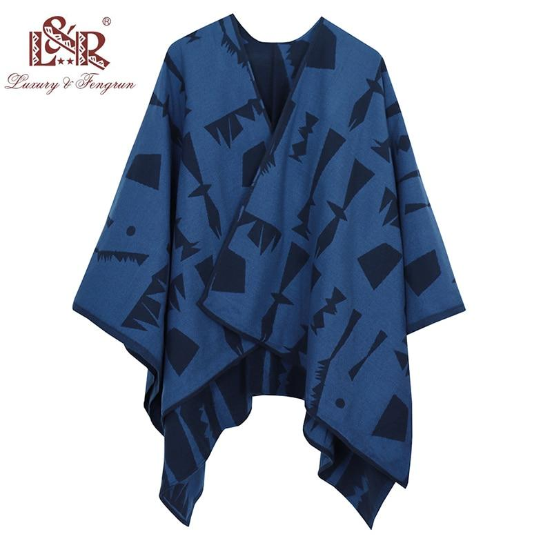 2018 New Design Winter Poncho Scarf For Women Cashmere Poncho And Copes Wool Print Women Scarfs Foulard Femme Shawl Poncho Sjaal